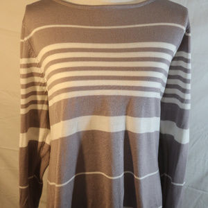 NY Collection Grey/White Stripped Sweater XL
